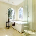 13122471 - luxury natural classic bathroom with shower and white tub.